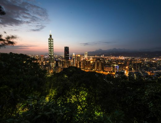Evening view on Taipei from Elephant Mountain with Taipei 101 in foreground