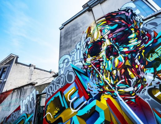 Street Art in Antwerpen - Skull Graffiti by Steve Locatelli, Rise One, ea